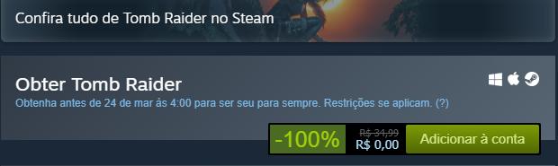 Como jogar Tomb Raider grátis na Steam