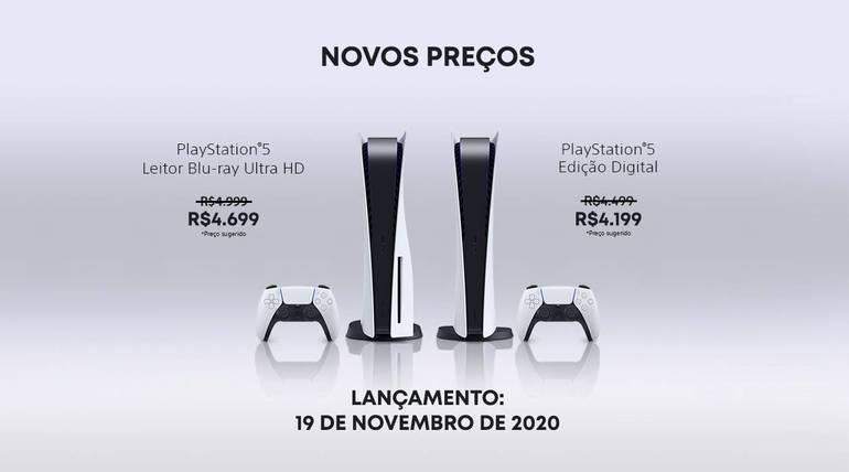Novos preços PlayStation 5